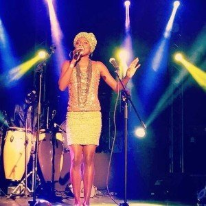 Hope Masike performing at Cynthia Mare's album launch
